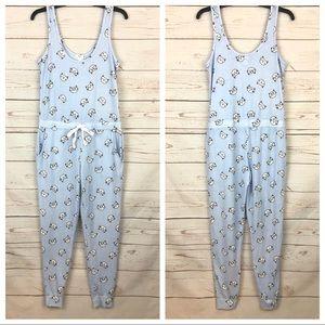 Cat Print Pajama Loungewear Jumpsuit